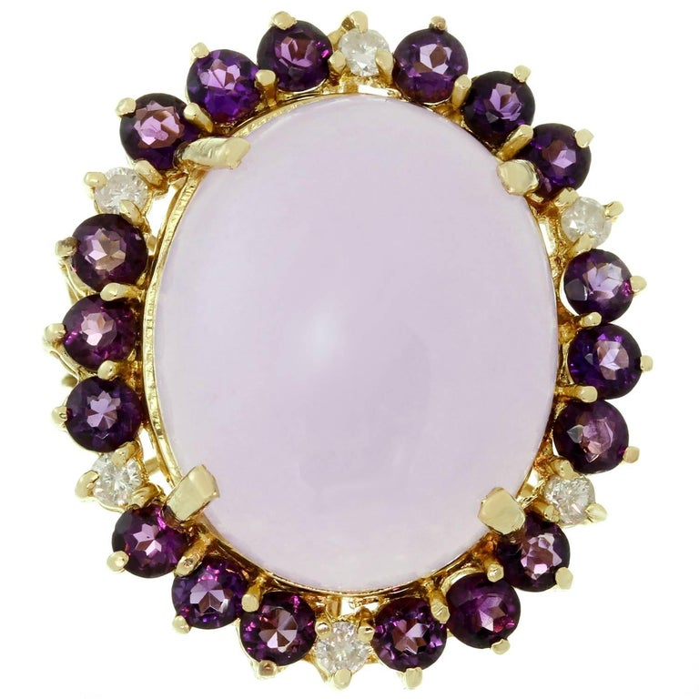 Lavender Jadeite Jade Diamond Amethyst Yellow Gold Ring
