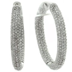 Diamond White Gold Hoop Earrings