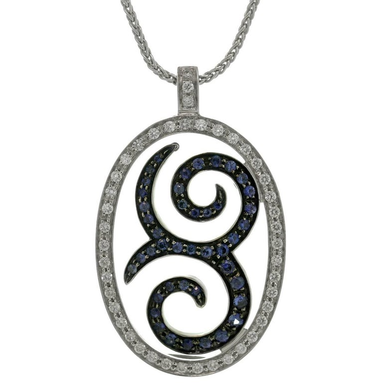 Blue Sapphire Diamond White Gold Pendant Necklace