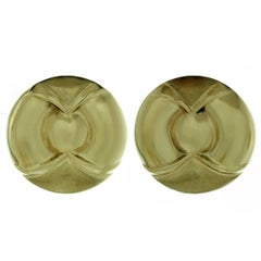 Geometric Round Yellow Gold Button Earrings