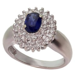 Diamond Blue Sapphire White Gold Ring