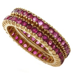Ruby Rose Gold Eternity Ring Guards Band, Pair