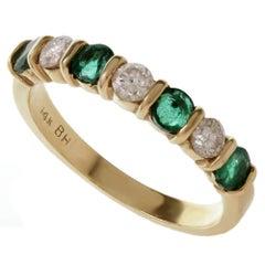Diamond Emerald Yellow Gold Ring