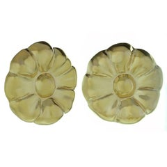 Yellow Gold Flower Button Earrings