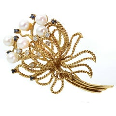 1960s Pearl Sapphire Diamond Yellow Gold Flower Bouquet Brooch