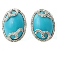 Diamond Oval Arizona Sleeping Beauty Turquoise White Gold Swirl Earrings