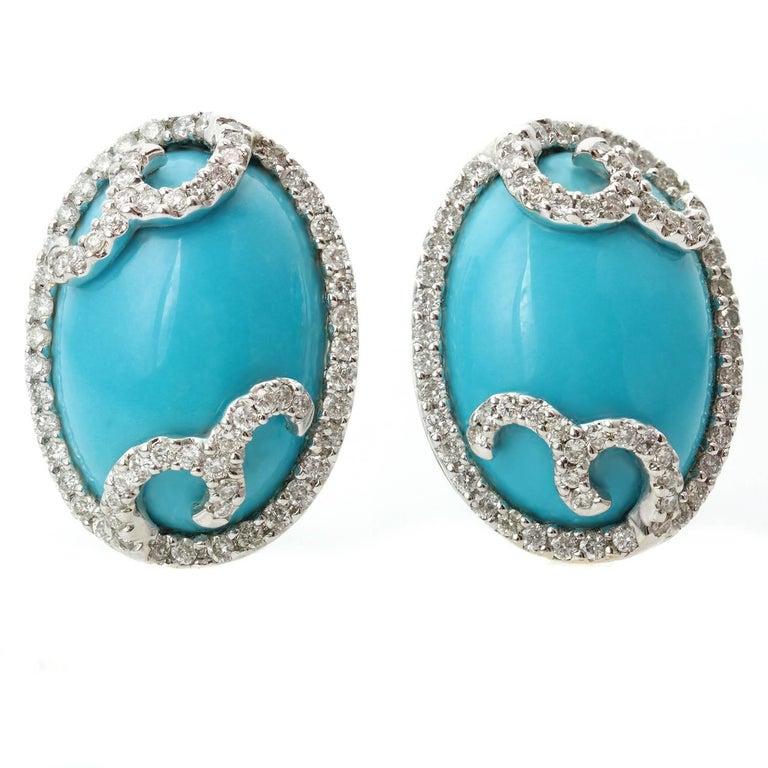Diamond Oval Arizona Sleeping Beauty Turquoise White Gold Swirl Earrings