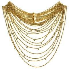Cartier Paris Nouvelle Vague Diamond Yellow Gold Eighteen-Row Draperie Necklace
