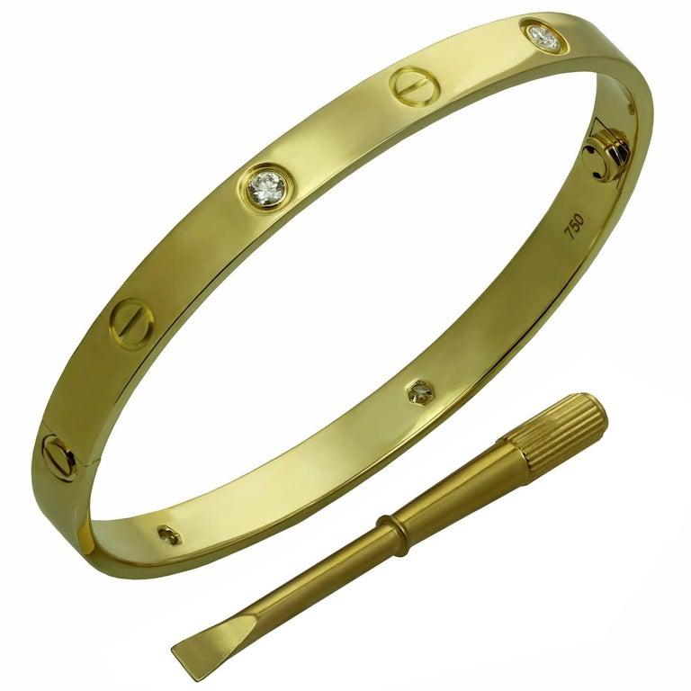 Cartier Love Four Diamond Yellow Gold Bracelet
