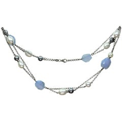 Salavetti Pearl Chalcedony White Gold Necklace