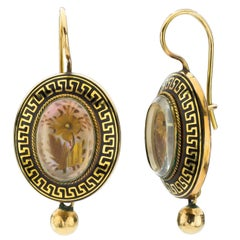 Victorian Enamel Yellow Gold Earrings