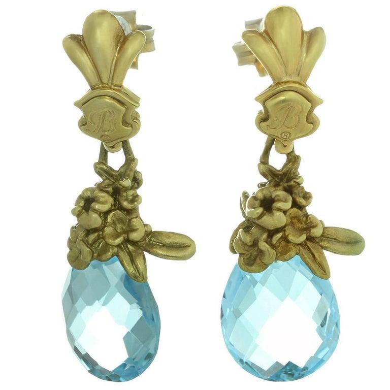 Blue Topaz Briolette Yellow Gold Floral Drop Earrings