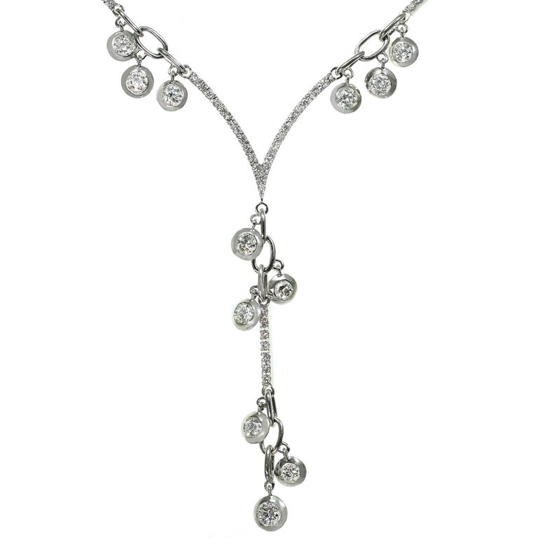 Stefan Hafner Chandelier Lariat Diamond White Gold Necklace