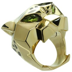 Panthère De Cartier Peridot Onyx Lacquer Yellow Gold Ring