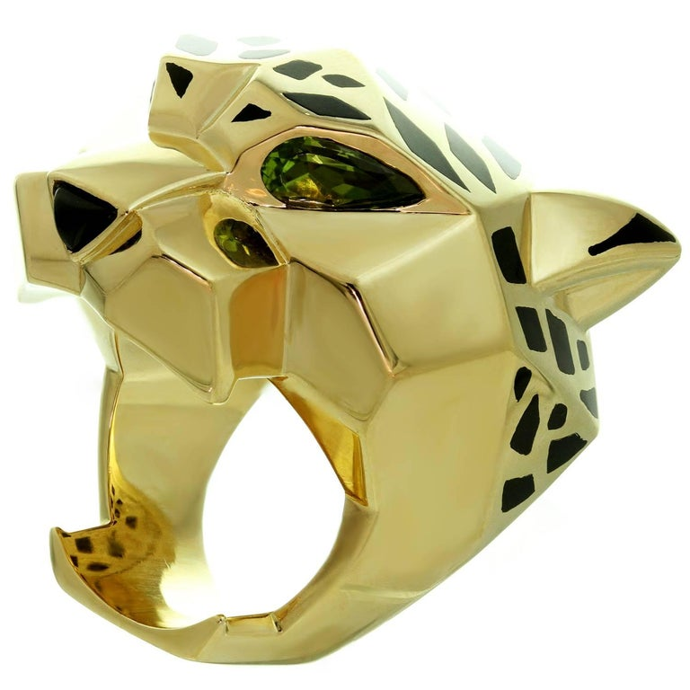 Panthère De Cartier Peridot Onyx Lacquer Yellow Gold Ring For Sale 1