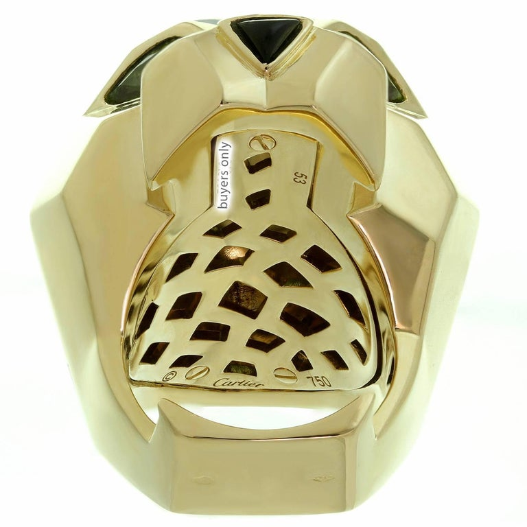 Panthère De Cartier Peridot Onyx Lacquer Yellow Gold Ring For Sale 2