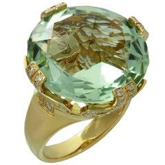Bulgari Parentesi Green Beryl Diamond Rose Gold Cocktail Ring