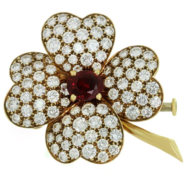Van Cleef & Arpels Cosmos Ruby Diamond Yellow Gold Flower Pendant Brooch