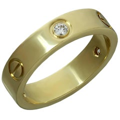 Cartier Love Three Diamond Yellow Gold Band Ring
