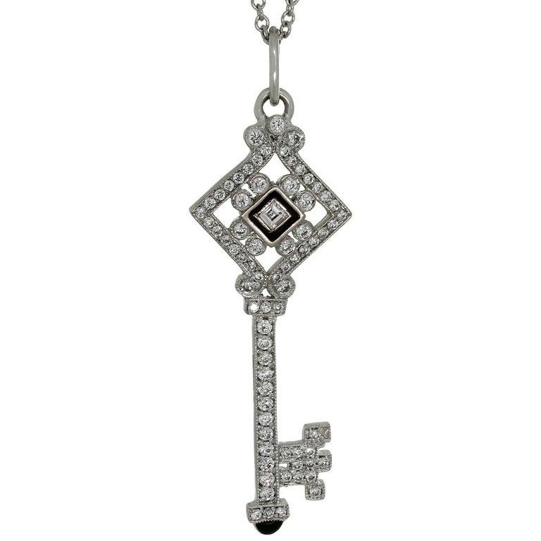 Tiffany & Co. Diamond Black Enamel White Gold Key Pendant Necklace