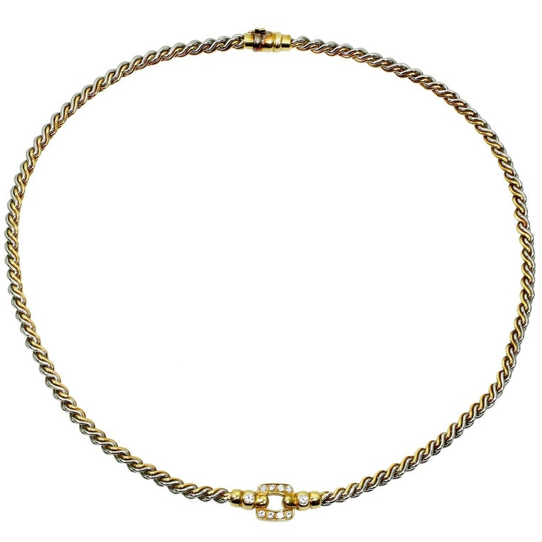 Cartier Vintage Diamond Yellow Gold Stainless Steel Necklace