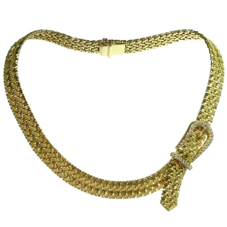 Hermes Diamond Yellow Gold Woven Link Belt Buckle Necklace