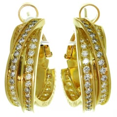 Trinity De Cartier Yellow Gold Diamond Earrings