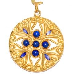 Handmade Lapis Lazuli Enamel Yellow Gold Pendant