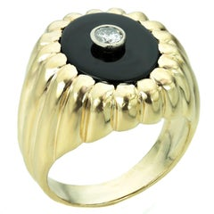 Solitaire Diamond Black Onyx Yellow Gold Men's Ring