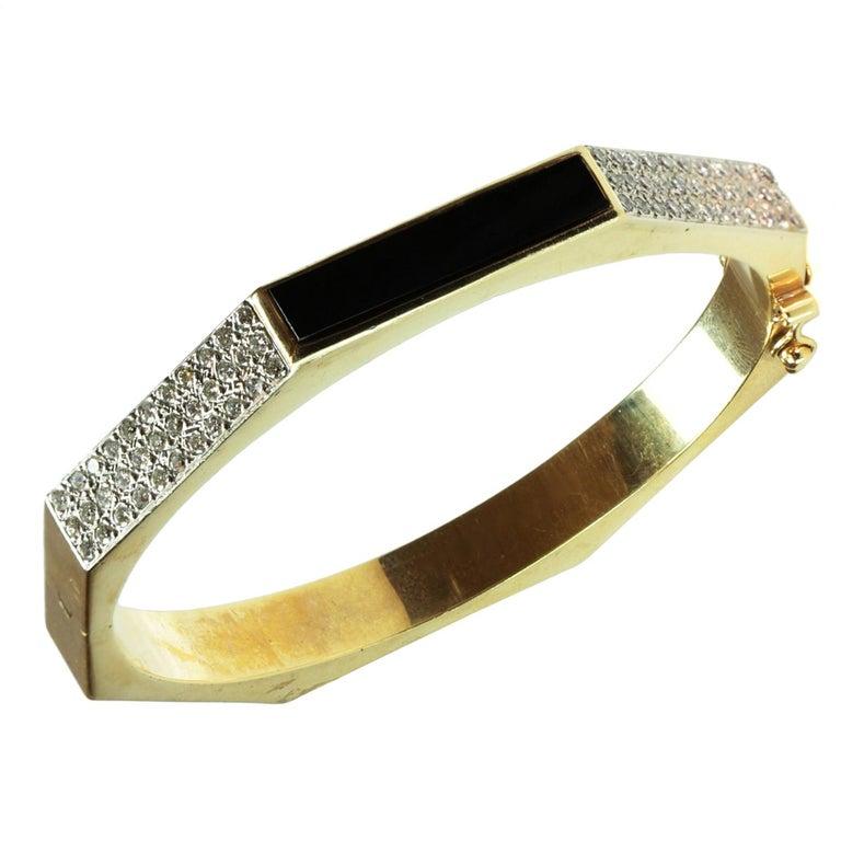 Diamond Black Enamel Yellow Gold Hexagon Bangle Bracelet