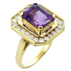 Diamond Purple Amethyst Yellow Gold Ring