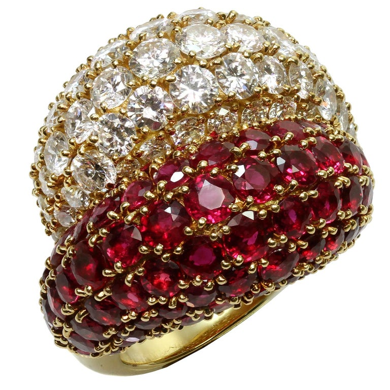 Van Cleef & Arpels Double Boule Diamond Ruby Yellow Gold Ring