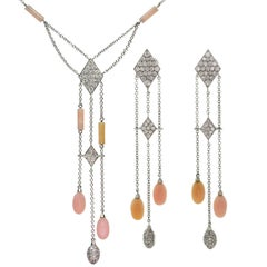 Luca Carati Pink Opal Diamond White Gold Necklace and Earrings Suite