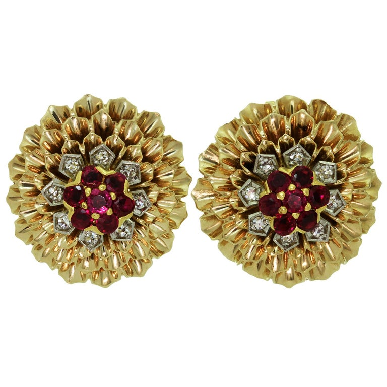 Cartier Ruby Diamond Yellow Gold Clip-On Earrings, 1960s