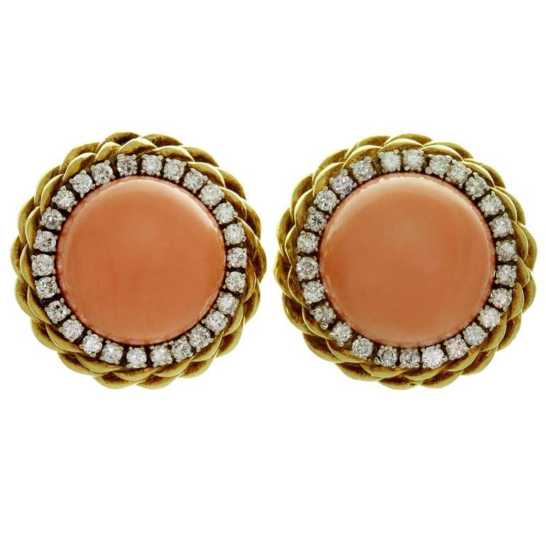 Van Cleef & Arpels Pink Coral Diamond Yellow Gold Clip-On Earrings