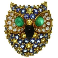 Van Cleef & Arpels Diamonds Sapphire Emerald Enamel Yellow Gold Owl Brooch