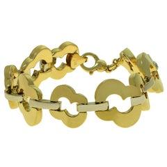 Baraka Yellow and White Gold Link Bracelet, Italy, 1990s