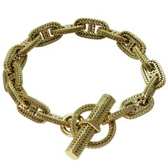 Hermes George L'Enfant Chain d'Ancre 18 Karat Yellow Gold Medium Bracelet