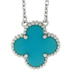 Van Cleef & Arpels Alhambra Turquoise White Gold Pendant Necklace