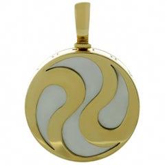 Bulgari Mother-of-Pearl Yellow Gold Ying Yang Spinning Pendant