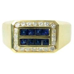 Diamond Blue Sapphire Yellow Gold Rectangular Men's Ring