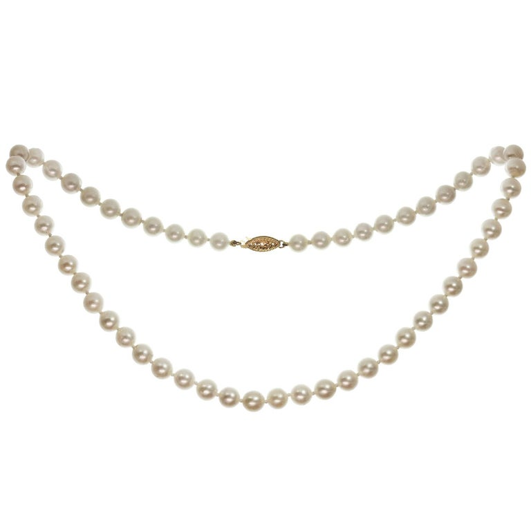 Cultured Pearl Strand Yellow Gold Clasp Necklace