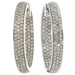 Diamond White Gold Inside Out Hoop Earrings