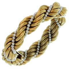 Tiffany & Co. Cultured Pearl Brushed Yellow Gold Twisted Rope Bracelet