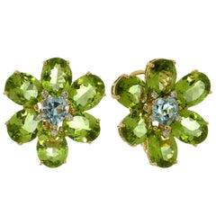 Peridot Aquamarine Heart Diamond Yellow Gold Flower Earrings