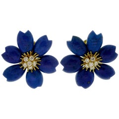 Van Cleef & Arpels Rose De Noel Lapis Lazuli Diamond Yellow Gold Earrings
