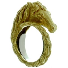 Hermes 1960s Horse Yellow Gold Braided Band Ring