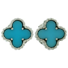 Van Cleef & Arpels Sweet Alhambra Turqouise White Gold Stud Earrings