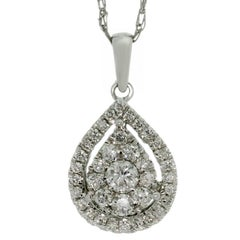 Mosaic Setting Diamond Pendant White Gold Necklace