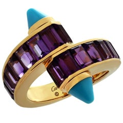 Cartier Menotte Amethyst Turquoise Rose Gold Ring Box Papers